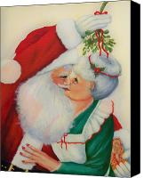 Christmas Cards Canvas Prints - Sly Santa Canvas Print by Joni McPherson