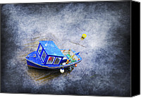 Yachts Digital Art Canvas Prints - Small Fisherman Boat Canvas Print by Svetlana Sewell