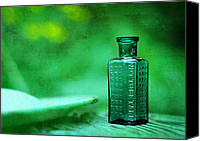 Bottles Canvas Prints - Small Green Poison Bottle Canvas Print by Rebecca Sherman