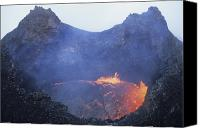 Volcanic Activity Canvas Prints - Small Lava Lake In Pit Crater, Puu Oo Canvas Print by Richard Roscoe
