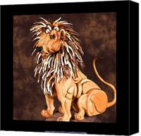 Nature Sculpture Canvas Prints - Small Lion Canvas Print by Thomas Thomas