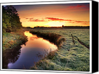 Denmark Canvas Prints - Small River At Sunrise Canvas Print by H-L-Andersen
