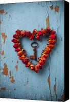 Blue Photo Canvas Prints - Small rose heart wreath with key Canvas Print by Garry Gay