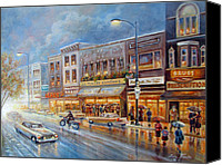 Impressionistic Art Canvas Prints - Small town on a rainy day in 1960 Canvas Print by Gina Femrite