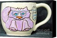 Animals Ceramics Canvas Prints - Smart Kitty Mug Canvas Print by Joyce Jackson