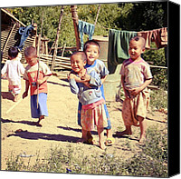 Children Photo Canvas Prints - Smiles #thailand #travel #happy #kids Canvas Print by A Rey