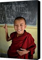 Tibetan Buddhism Canvas Prints - Smiley Monk Canvas Print by Valerie Rosen