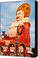 Gifts Digital Art Canvas Prints - smiling Buddha Canvas Print by Adrian Evans