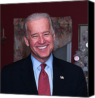 Joe Biden Canvas Prints - Smiling Joe Canvas Print by John Poltrack
