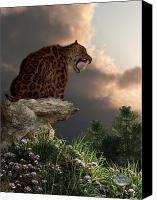 Ice Age Canvas Prints - Smilodon Californicus Lookout Canvas Print by Daniel Eskridge