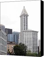 Landmarks Mixed Media Canvas Prints - Smith Tower Canvas Print by Patricia  Schnepf