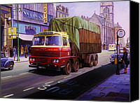 1960 Painting Canvas Prints - Smiths Scammell Routeman II Canvas Print by Mike  Jeffries