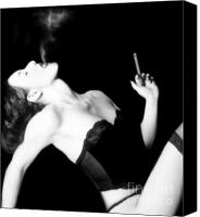 Attractive Canvas Prints - Smoke and Seduction - Self Portrait Canvas Print by Jaeda DeWalt