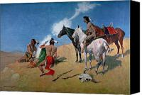 Red Clothing Canvas Prints - Smoke Signals Canvas Print by Frederic Remington