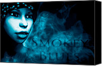 Woman Mixed Media Canvas Prints - Smokey Blues Canvas Print by Bob Orsillo
