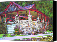 Log Cabin Art Canvas Prints - Smokey Mountain Home Canvas Print by Rebecca Korpita
