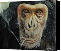 Charcoal Drawings Canvas Prints - Smokin Cool Monkey Canvas Print by Angela Hannah