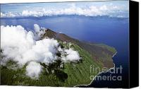 Peak One Canvas Prints - Smoking volcano of Lopevi Island in Vanuatu Canvas Print by Sami Sarkis