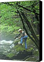 Marty Koch Canvas Prints - Smoky Mountain Angler Canvas Print by Marty Koch