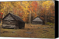 Old Cabins Canvas Prints - Smoky Mountain Cabins at Autumn Canvas Print by Andrew Soundarajan
