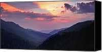 Mountain Scenes Canvas Prints - Smoky Mountain Sunset from Mortons Overlook Canvas Print by Thomas Schoeller