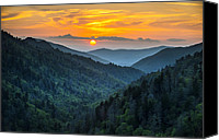 Gatlinburg Canvas Prints - Smoky Mountains Sunset - Great Smoky Mountains Gatlinburg TN Canvas Print by Dave Allen