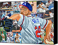 Baseball Painting Canvas Prints - Smoltz Canvas Print by Michael Lee