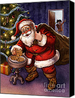 Santa Canvas Prints - Sneaky Santa Canvas Print by Isabella Kung