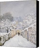 Louveciennes Canvas Prints - Snow at Louveciennes Canvas Print by Alfred Sisley