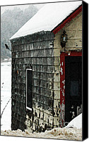Barn Mixed Media Canvas Prints - Snow Barn  Canvas Print by AdSpice Studios