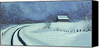 Barn Pastels Canvas Prints - Snow Bound Canvas Print by Garry McMichael