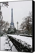White Canvas Prints - Snow Carpets Benches And Eiffel Tower Canvas Print by Jade and Bertrand Maitre