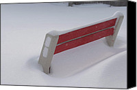 Storm Prints Canvas Prints - Snow Covered Bench Canvas Print by Thomas Woolworth