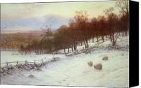 Snowy Trees Painting Canvas Prints - Snow Covered Fields with Sheep Canvas Print by Joseph Farquharson
