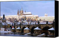 Charles Bridge Canvas Prints - Snow Covered Prague Castle, Charles Bridge And Suburb Of Mala Strana Canvas Print by Richard Nebesky