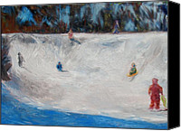 Patrick Mills Canvas Prints - Snow Day Downhill Sledding Canvas Print by Patrick Mills