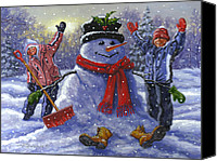 Holidays Canvas Prints - Snow Day Canvas Print by Richard De Wolfe