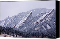 Colorado Mountains Canvas Prints - Snow Dusted Flatirons Boulder Colorado Canvas Print by James Bo Insogna