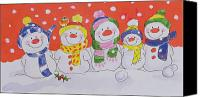 Christmas Cards Canvas Prints - Snow Family Canvas Print by Diane Matthes