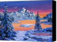Snowy Trees Painting Canvas Prints - Snow Fantasy Canvas Print by David Lloyd Glover