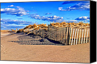Sand Fences Canvas Prints - Snow Fences In The Fall Canvas Print by H Scott Cushing