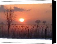Lake Geneva Wisconsin Canvas Prints - Snow Fog at Sunset Canvas Print by Df