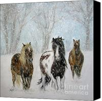 Equine Pastels Canvas Prints - Snow Horses Canvas Print by Teresa Vecere