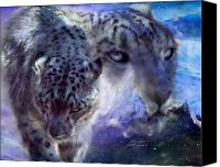 Leopard Mixed Media Canvas Prints - Snow Spirit Canvas Print by Carol Cavalaris
