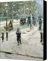 Oil Lamp Canvas Prints - Snow Storm on Fifth Avenue Canvas Print by Childe Hassam