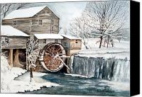 Old Mill Pigeon Forge Canvas Prints - Snow Wheel Canvas Print by Anne Rhodes