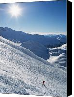 Snowboarder Canvas Prints - Snowboarder Going Off Piste Canvas Print by Axiom Photographic