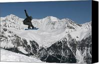 Snowboarder Canvas Prints - Snowboarder Indy grab Switzerland Canvas Print by Pierre Leclerc
