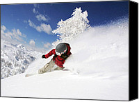 Snowboarder Canvas Prints - Snowboarder Canvas Print by Steve Thorpe