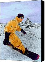 Snowboarder Canvas Prints - Snowboarding at Zermatt Canvas Print by L S Keely